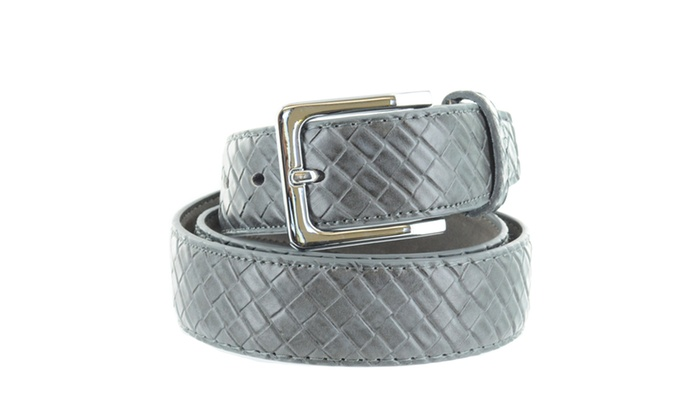 Faddism Unisex Weave Embossed Leather Belt