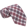 Knot Society Men's White Cotton Plaid Fabric Regular Tie