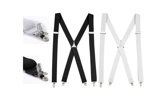 Mens Elastic X Back No Slip Pin Clip Straight Clip Suspenders -