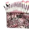 24 Piece Pink Leopard Brush Set