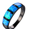 Round Blue Fire Opal Wedding Rings for Women
