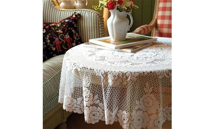 Heritage Lace VR 4500W 43 In. Victorian Rose Round Table Topper