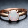 18K Rose Gold & White Fire Opal Solitaire Engagement Ring By Gembassy