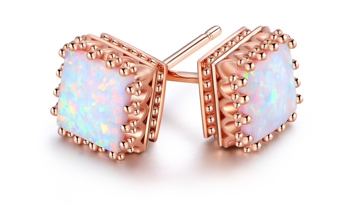 f70d693f55288 Up To 61% Off on White Fire Opal Stud Earrings | Groupon Goods