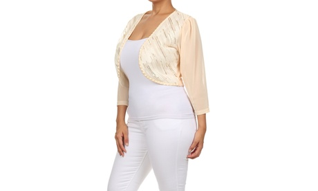 Xehar Women's Plus Size Sexy Open Front Sequin Embellishment Shrug Cardigan