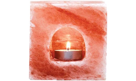 Himalayan Salt Cube Shape with Visible Tea Light Candle Holder 42cadcf0-f866-4023-ad5b-6245afbd73f1