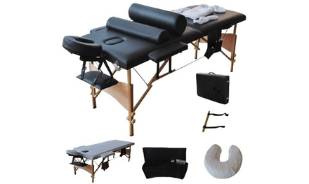 2 Sections Folding Portable SPA Bodybuilding Massage Table Set Black