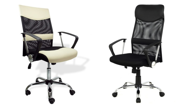 Dailyselections: Apontus Office Chair Mid Back Mesh Desk Chair, Black And  Cream ...