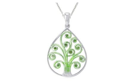 Sterling Silver Green Diamond Tree of Life Pendant Necklace. 724e5a01-1537-41eb-89f5-856f6d9d3719