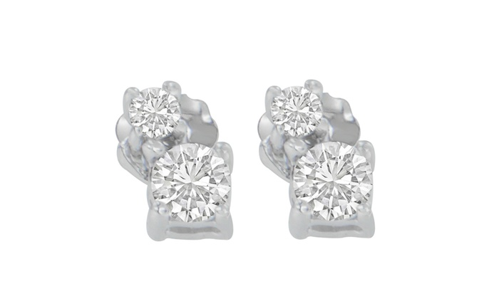 14k White Gold 0 5 Cttw Round Cut Diamond Earrings H I