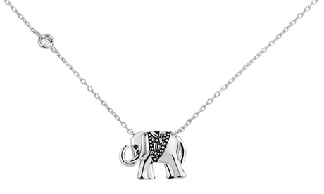 Sterling Silver Cubic Zirconia Oxidized Elephant Necklace 0a0ff685-2149-4bec-b639-cc4138581c28