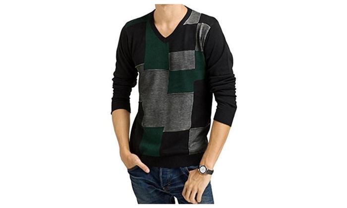 Men's Classic V Neckline Cheaked Knitting Sweater Green