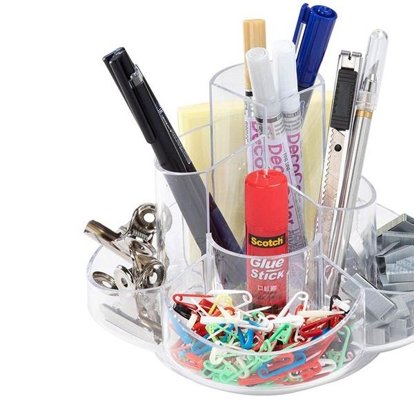 Desk Caddy Desk Organization Rotating Stationery Organizer Acrylic Pen Holder Clear Modern Office Accessories 6.5 x 4.7 Inches