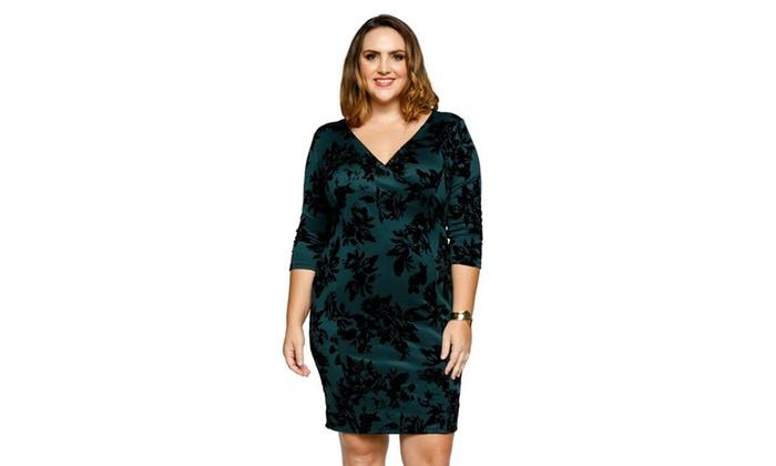 02cfc22fc67 ... 3 4 Sleeve Sheath Dress. Xehar Womens Plus Size Sexy F..