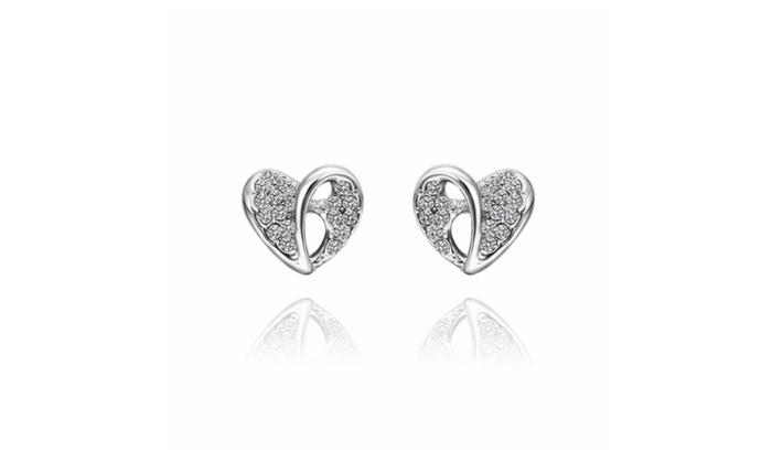 Silver Moon Jewelry: 18K White Gold  Hollow Heart Shaped Stud Earrings