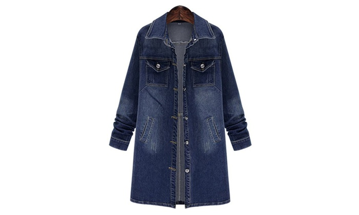 QZUnique Women Long Denim Jacket Casual Loose Long Sleeve Jean Jacket ... efeabc1c05