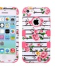 Insten Fresh Roses Dual Coated Silicone Case For Iphone 5c Pink White
