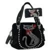 Rhinestone Cat Bling Black Vegan Purse Handbag & Wallet Set