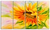 Sunflower Oil Painting Floral Metal Wall Art 48x28 4 Panels