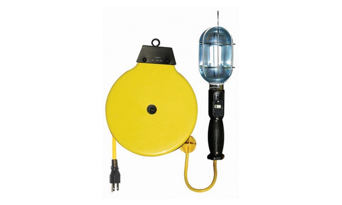 75w Incandescent Trouble Light With Reel, 30' Cord