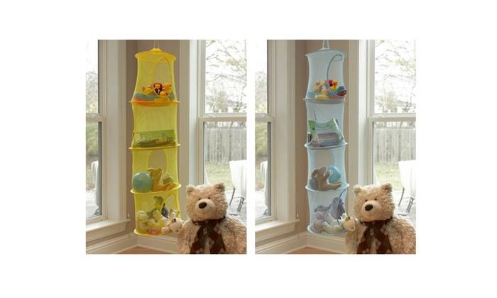 Beau 4 Shelf Toy Cubby Mesh Organizer Bag Bedroom Wall Door Closet Hanging ...