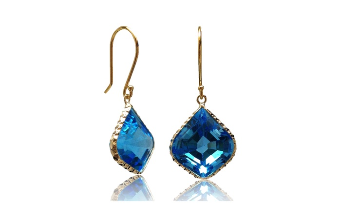 Tiaara Solid 14k Yellow Gold Hallmark London Blue Topaz Earrings