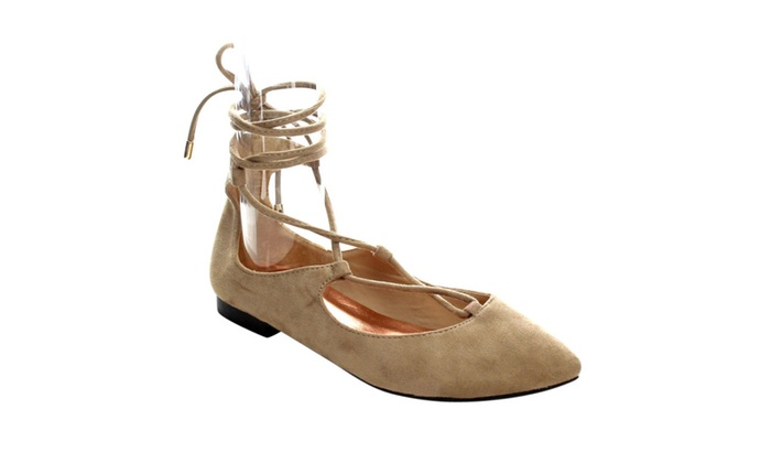 Beston AC26 Women Lace Up Ankle Starp Low Heel Flats Half Size Smaller