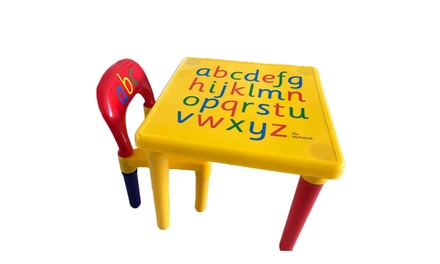 2 PSC Children Kids Play Letter Education Learning Table and Chair Set
