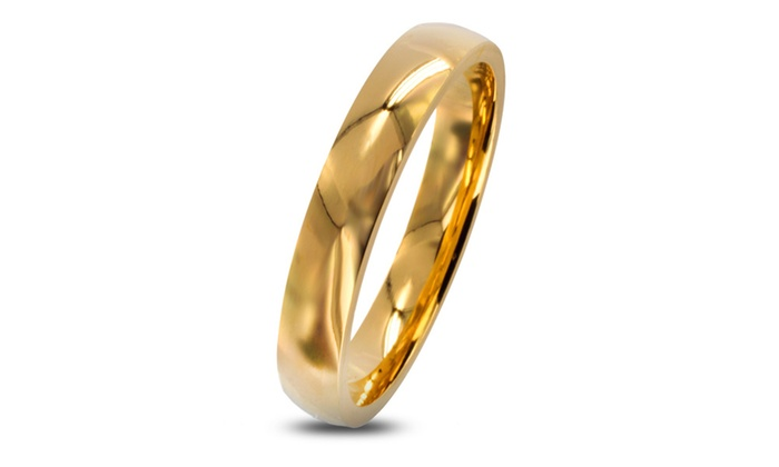 Groupon Goods: Stainless Steel Gold Plated Wedding Band Ring (3mm)