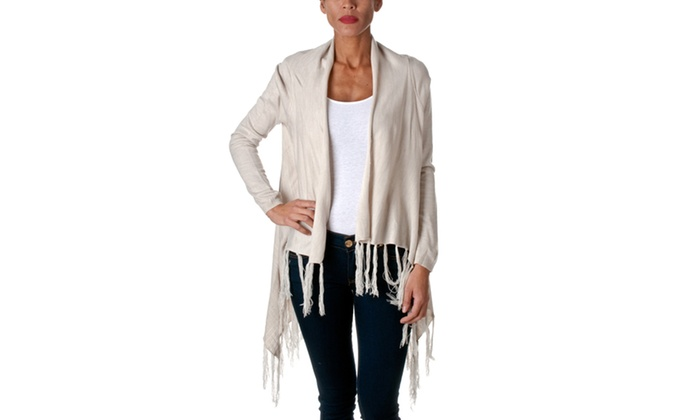 Love Tree Acrylic Open Cardigan With Tassels E2378WJ