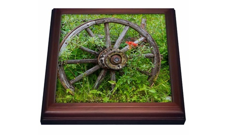 Old wagon wheel in historic Barkersville British Columbia Canada photo