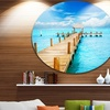 Tropic Paradise Jetty in Mexico' Seascape Circle Metal Wall Art