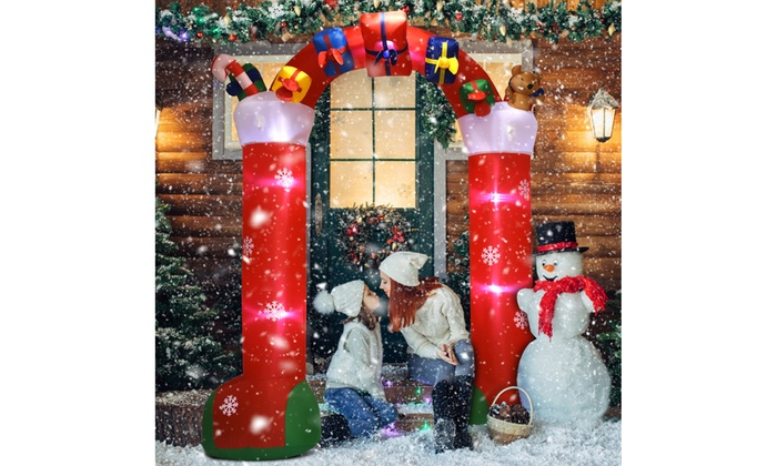 10' Inflatable Christmas Decoration Stocking Archway w/ Gift Boxes Lighted Yard
