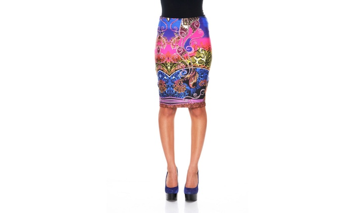 Royal/Fuchsia Pretty & Proper Pencil Skirt