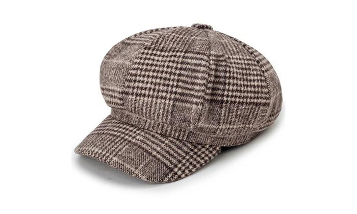 Women Stripes Newsboy Cabbie Peaked Beret Cap Warm Baker Boy Visor Artist Hat