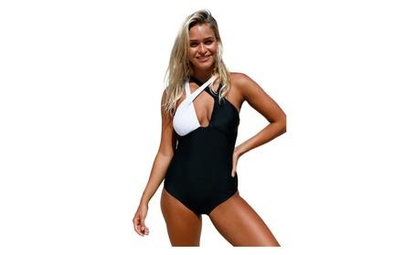 Women's Black White Double Cross Strap One Piece Swimsuit 74b75492-1473-4323-8f3b-3145059ecbd2