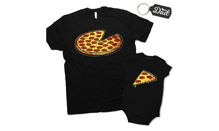 39928fa84 Funny Pizza Pie & Slice Dad & Baby Matching Clothing Shirt & Onesie ...