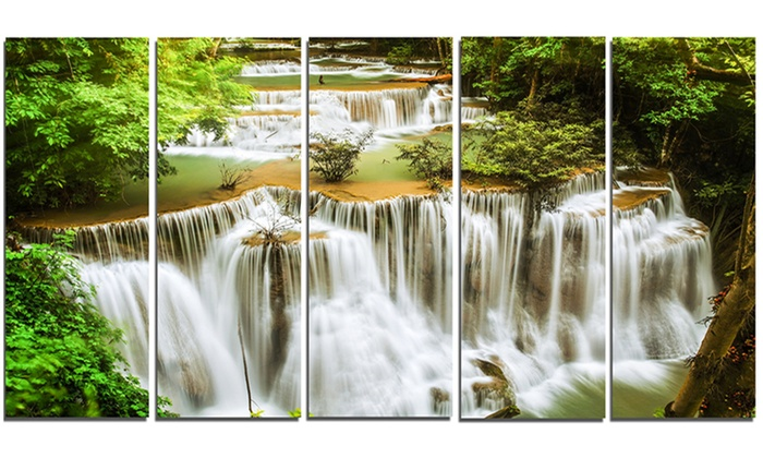 Green Huymea Kamin Waterfall Photo Metal Wall Art 60x28 5