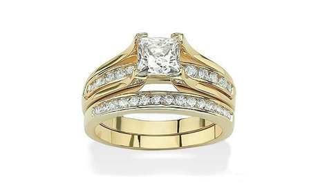 Women's 2.10 Ct Zirconia Gold Plated Stainless Steel Weddding Ring Set