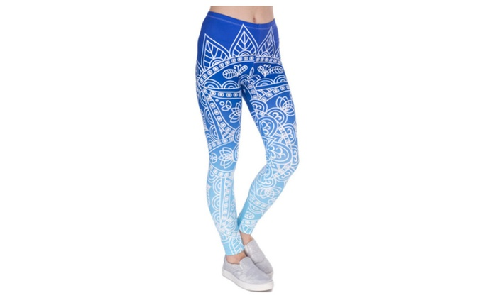 69c3eac921 Mandala Blue Ombre Women's Leggings Printed Yoga Pants Workout | Groupon