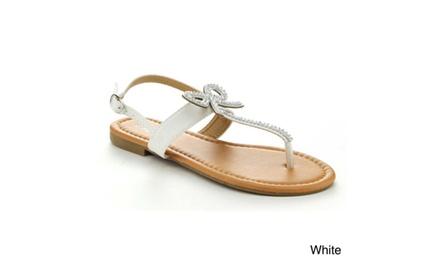 Anna Adriana-32 Women Sweet Sling Back T-Strap Flat Thong Sandal W/Rhinestone Bow