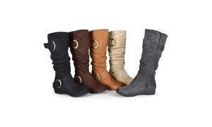 Journee Collection Womens Extra Wide Calf Slouch Mid-calf Riding Boots