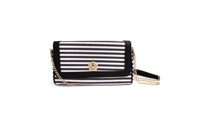 Striped Twist Lock Shoulder Bag
