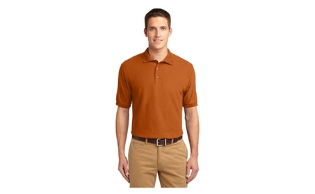 Port Authority K500 Mens Silk Touch Polo T-Shirt, Texas Orange - Large