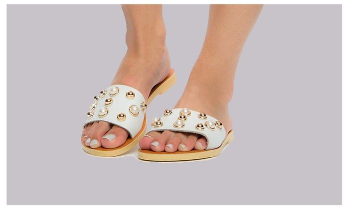 3a252b480a87 ... Women s Pearl   Stud Slide Slip On Chic Flat Sandal by Liliana ...