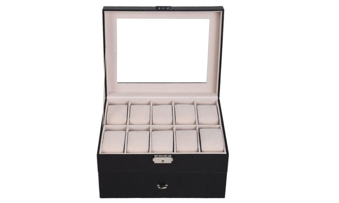 Display Case Box watch 20 Slot Leather Organizer Glass Top Storage