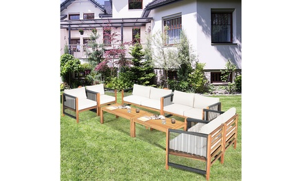 Costway 8PCS Wooden Patio Furniture Set CUS01hioned Sofa W/Rope Armrest