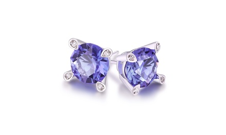 Lab Created Purple Tanzanite Stud Earring in 18K White Gold