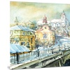 City of Churches Watercolor Cityscape Metal Wall Art 28x12