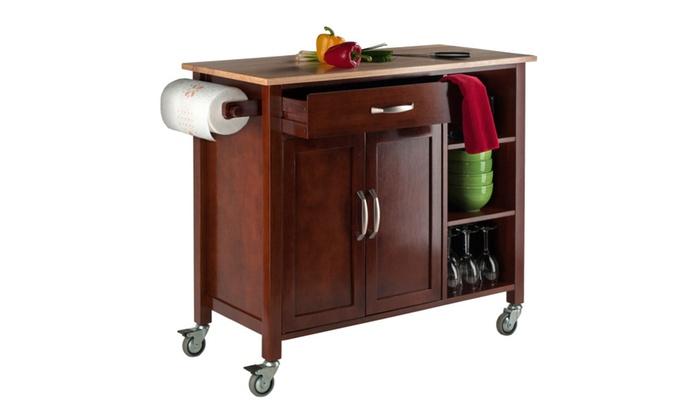 ... Winsome Mabel Kitchen Cart Walnut/Natural